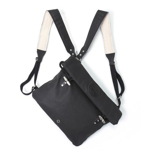 STIGHLORGAN MURPHY LACQUERED CANVAS ROLLTOP SHOULDER BAG / BACKPACK